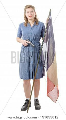young woman resistant in 1944 with a French flag