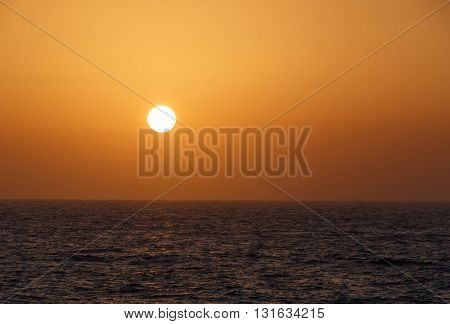 view on dawning in Arabian gulf sun
