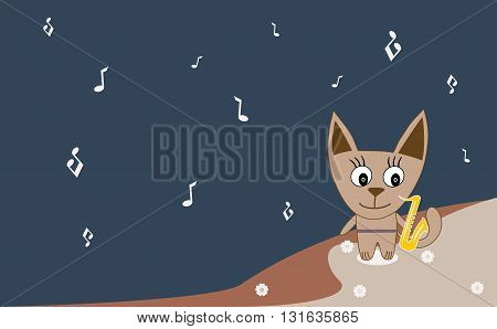 Vector Illustration Of A Cute Cat Saxophonist
