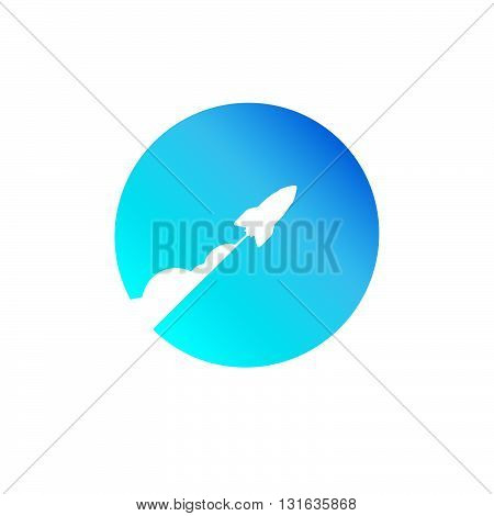 Launching rocket ship blue cover for business