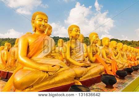 Golden Buddha's disciple at Buddha Memorial park in Thailand