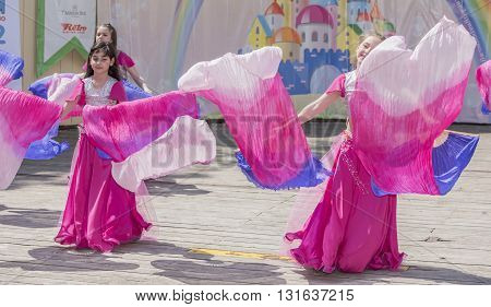 Rostov-on-Don Russia- May 22, 2016: Performance talented girls dance ensemble on the stage of the V. Cherevichkin Park