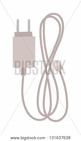 Phone harger vector flat icon. Charger phone vector. Charger isolated on white. Technology equipment phone icon. Charger phone infographic icon. Phone electric device