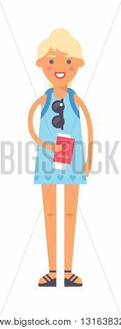 Vacation travel girl vacation isolated, girl alone travel concept vector. Vacation travel girl character andf cute vacation travel girl fashion hipster style.