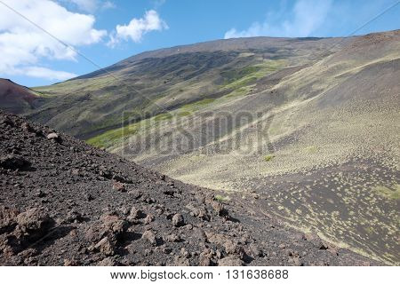 Etna Park bleack slope of volcaninc ash and some low bushes an altitude of 2000 m., Sicily