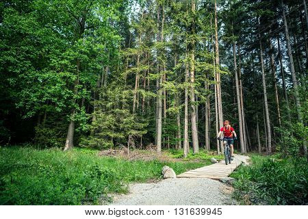 Mountain biker riding on bike in spring inspirational mountains landscape. Man cycling MTB on enduro trail path. Sport fitness motivation and inspiration. Rider mountain biking in summer woods.