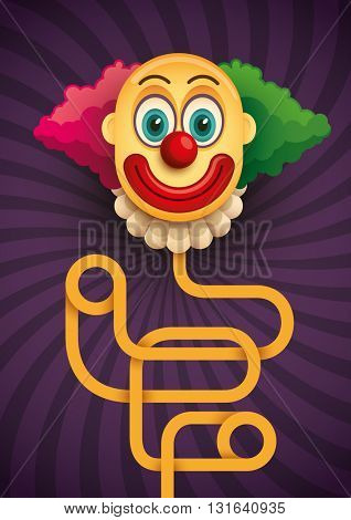 Spooky clown illustration in color. Vector illustration.