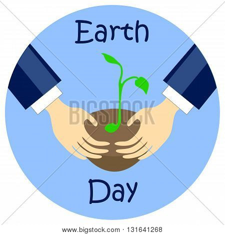 Earth day flat style vector illustration with hands and planting seed