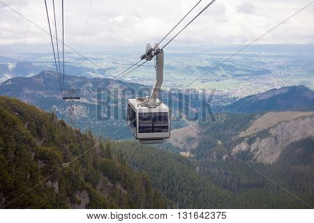 Zakopane Poland - May 8 2016: The cable car on the way to Kasprowy Wierch peak