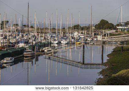 Berkeley, California, USA - April 26, 2016:  Quiet morning at Berkeley Marina on San Francisco Bay.
