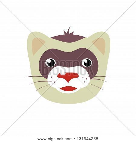 Cartoon ferret animal face vector illustration isolated on white background weasel face icon design