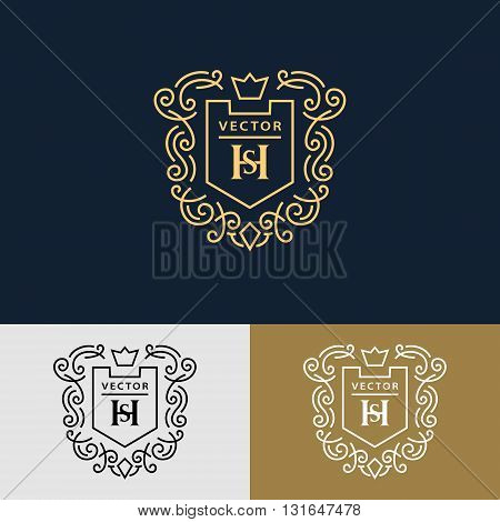 Vector illustration of Line graphics monogram. Elegant art logo design. Letter SH. Graceful template. Business sign identity for Restaurant Royalty Boutique Cafe Hotel Heraldic Jewelry Fashion.