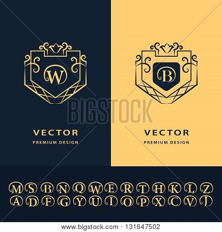 Vector illustration of Line graphics monogram. Modern creative cards. Abstract logo alphabet . Vector template. Letter emblem W B. Minimal Design elements for company logo Restaurant Royalty Boutique Cafe Hotel