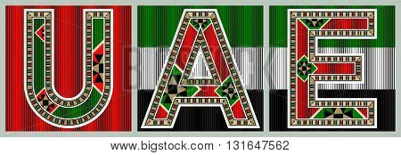 UAE Decorative Block Typography On Flag Tiles