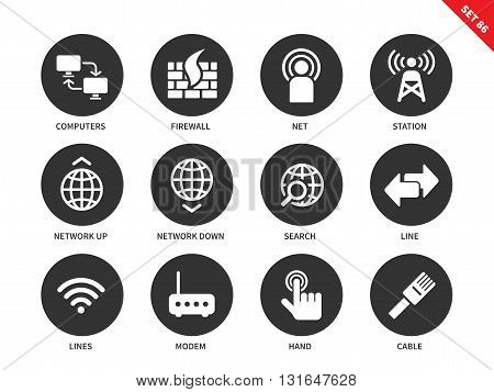 Network vector icons set. Internet and information technology concept. Web pages and appps items, computer, station, search, line, modem, cable, hand click. Isolated on white background