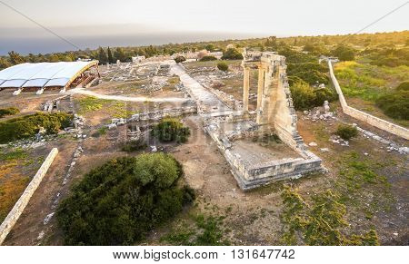 Aerial view of the arcaeological site of Apollon Ilatis sanctuary in Limassol Cyprus. The ruins of the ancient Greek temple of god Apollonas Ylatis in the old kingdom of Kourion in the woods.