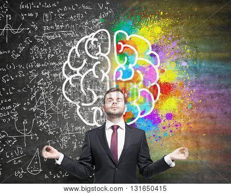 Meditating Man Different Brain Sides