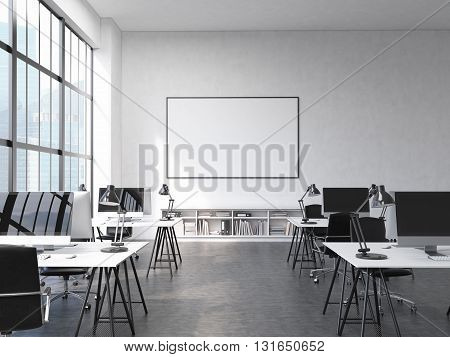 Front view of coworking office interior with workplaces blank picture frame on wall and window with Singapore city view. Mock up 3D Rendering
