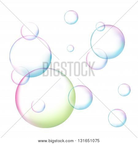 Soap bubble on white background isolated vector illustration