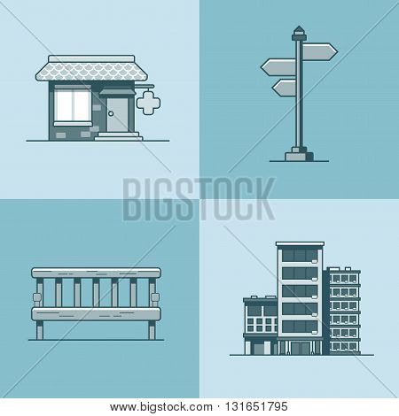 City object bench signboard architecture pharmacy drug store hotel building set. Linear stroke outline flat style vector icons. Mono color icon collection.