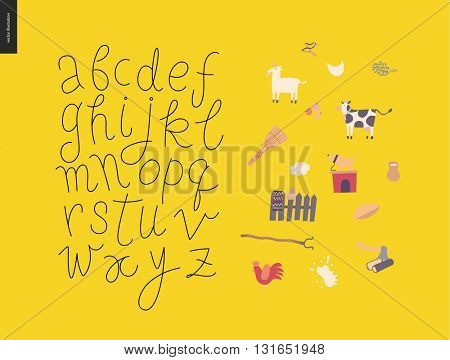 Vector handwritten script latin alphabet on the yellow background with rural elements