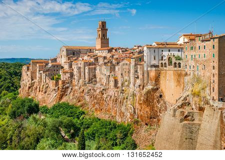 Landscape medieval town Pitigliano in Tuscany, Italy