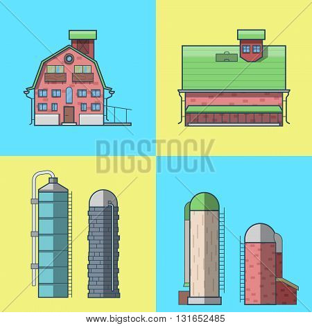 Farm rancho barn store house warehouse granary hangar water tower architecture building set. Linear stroke outline flat style vector icons. Color icon collection.