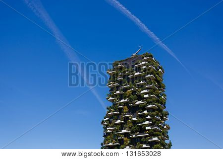 Milan Italy - May 04 2016: Bosco Verticale vertical forest apartment buildings in the Porta Nuova area of the city