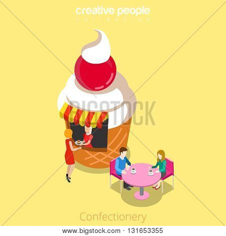 Confectionery candy shop cupcake shape building cafe restaurant realty real estate concept. Flat 3d isometry isometric style web site app icon concept vector illustration. Creative people collection.