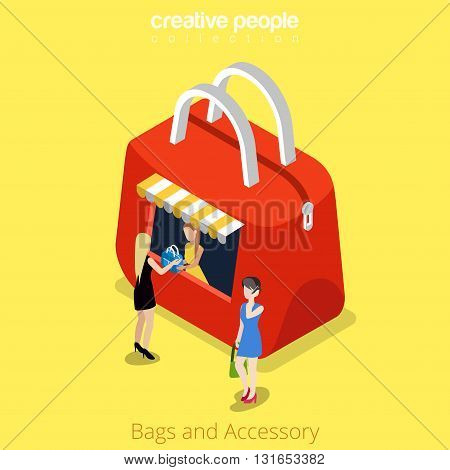 Bags and accessory bag shape boutique kiosk building shop realty real estate concept. Flat 3d isometry isometric style web site app icon set concept vector illustration. Creative people collection.