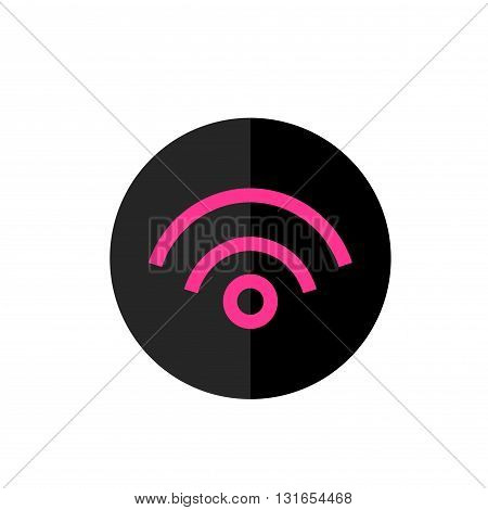 Flat Wi Fi Icon in Circle Frame for Web App Internet Smartphone Interface. Wi-Fi Vector Button