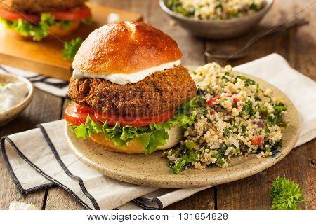 Homemade Mediterranean Falafel Burger