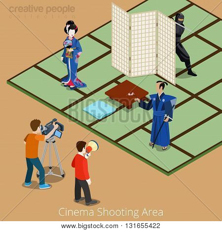 Cinema shooting area concept. Japan samurai geisha ninja movie stage. Flat 3d isometry isometric style web site app icon set concept vector illustration. Creative people collection.