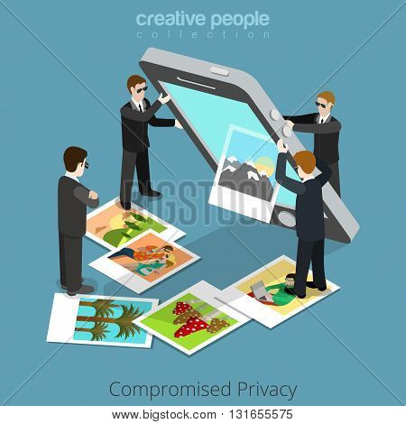 Compromised privacy concept. Special agents shake out content from big smartphone. Flat 3d isometry isometric style web site app icon set concept vector illustration. Creative people collection.