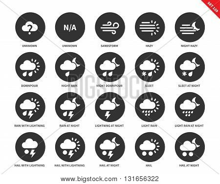 Weather vector icons set. Nature concept. Icons for weather forecast system, sandstorm, hazy, downpour, rain, sleet, lightning, night, hail. Isolated on white background