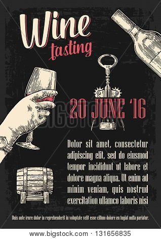 Wine tasting. Female hand holding a glass of wine. Vintage vector engraving illustration. Hand drawn sketch for wine tasting poster invitation to wine party or wine tasting web banner.