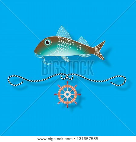 Vector illustration with isolated fish and nautical design elements helm, rope  on blue background.
