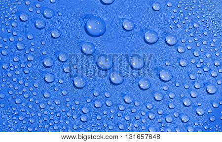 Water drops background. Texture of water drops. Blue.