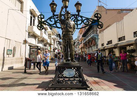 SANTO DOMINGO, DOMINICAN REPUBLIC - CIRCA JAN 2016: The famous Conde street in Santo Domingo, Dominican Republic