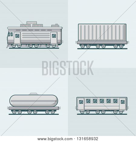Locomotive Passenger Coach Carriage Cistern railway railroad transport set. Linear stroke outline flat style vector icons. Monochrome icon collection.