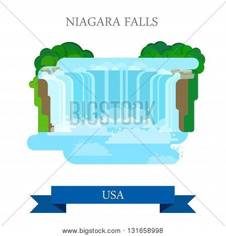 Niagara Falls in United States / Canada. Flat cartoon style historic sight showplace attraction web site vector illustration. World countries vacation travel sightseeing North America USA collection.