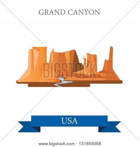Grand Canyon National Park in Arizona United States. Flat cartoon style historic sight showplace attraction web site vector illustration. World vacation travel sightseeing North America USA collection