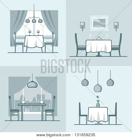 Restaurant cafe condo accommodation dining room cosy modern interior indoor set. Linear stroke outline flat style vector icons. Monochrome table stool chair wine coffee diner  icon collection.