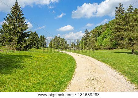 Path through the Wental valley at Swabian Alps near Steinheim and Bartholomae