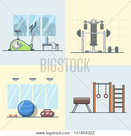 Gym exercise equipment room interior indoor set. Linear stroke outline flat style vector icons. Color cycle bike power weight lifting gymnastics rings ball wall bars icon collection.
