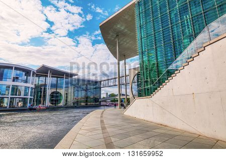 Spreebogen In Berlin With Buildings Of The German Bundestag