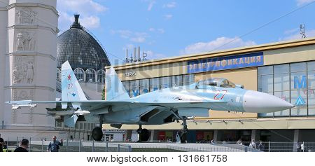 MOSCOW, RUSSIA - MAY 7, 2016: Battle military Combat aircraft Russian fighter Su-27 in Moscow