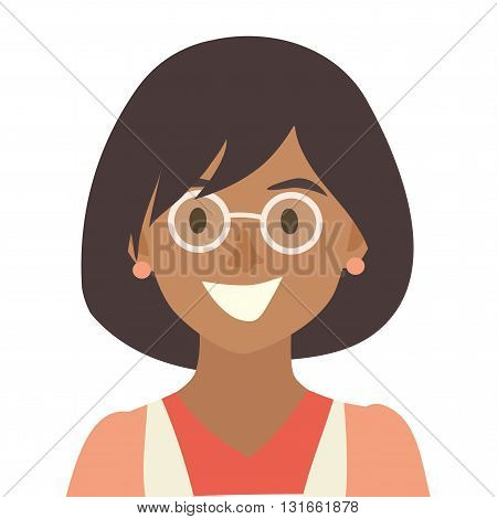 Black happy girls icon vector.Woman icon illustration.Face of young woman icon.Face of people icons cartoon style.Black people head flat icons.Isolated avatar white background