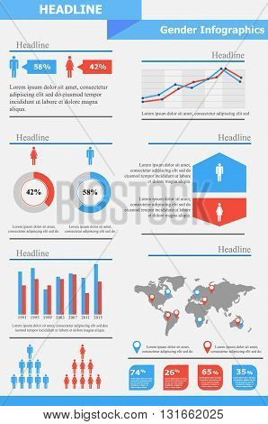 Gender Infographics Template | Gender Equality | Population Statistic | Human