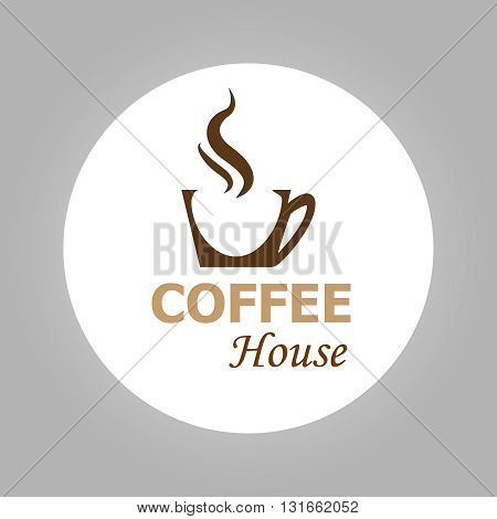 Coffee House Logotype Isolated On White Background | Coffee Cup Icon | Vector Illustration